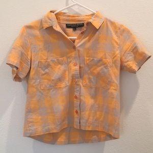 Topshop never worn! petite gray/orange checker top